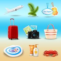 Icone realistiche di vacanza vettore