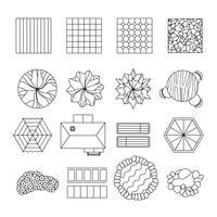 Linea di elementi di design giardino paesaggio vettore