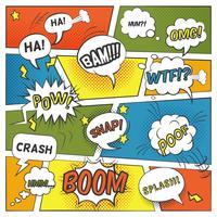 Set di fumetti comici emotivi e sonori vettore