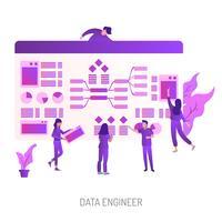 Progettazione concettuale dell'illustrazione dell'ingegnere dati