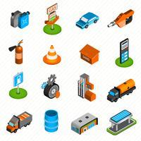 Icone isometriche degli elementi della stazione di servizio