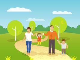 Illustrazione di famiglia all'aperto vettore