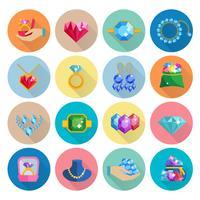 Icone di gioielli preziosi piatte vettore