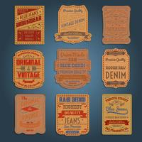Set di etichette in denim jeans classico in pelle