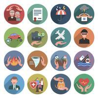 Set piatto di icone di assicurazione