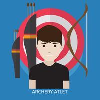 Disegno dell'illustrazione concettuale dell'atleta di tiro con l'arco vettore