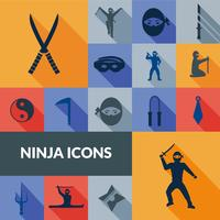 Set Ninja Icons Black vettore