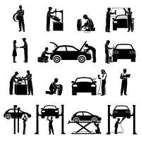 Meccanico icone nere vettore