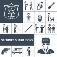 Set di icone di guardia di sicurezza nero vettore