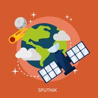 Progettazione dell'illustrazione concettuale dello Sputnik vettore