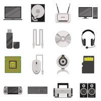 Set di icone di componenti e accessori per computer