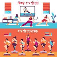 Set di banner di fitness di classe casa vettore
