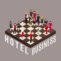 Concetto di scacchi di affari dell'hotel vettore
