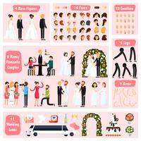 Wedding People Costruttore di caratteri ortogonali vettore