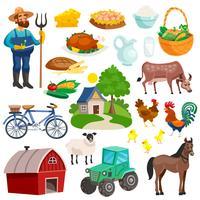 Collezione di icone del fumetto decorativo rurale vettore