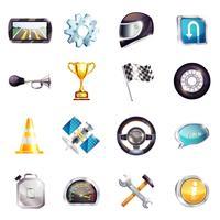 Set di elementi di corse automobilistiche vettore