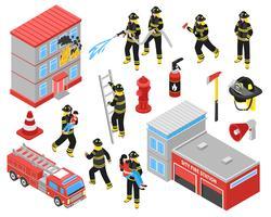 Set di icone isometriche di vigili del fuoco vettore