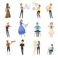 Artisti di strada isolati icone dei cartoni animati