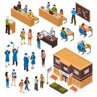 Set isometrico di studenti e insegnanti