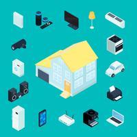 Icone decorative isometriche di Smart Home vettore