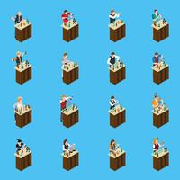 Barman Isometric Icons