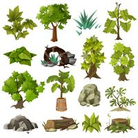 Raccolta di elementi di giardinaggio del paesaggio delle piante degli alberi vettore
