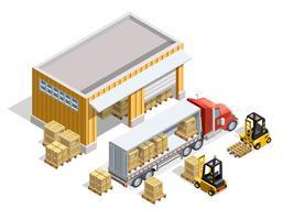 Modello isometrico del magazzino vettore