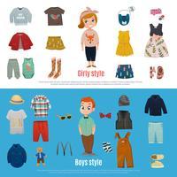 Set di banner di moda bambino vettore
