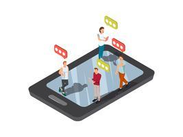 Concetto mobile di Smartphone Texting vettore