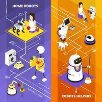 Aiutanti di robot verticali banner isometriche vettore