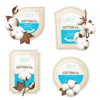 Set di icone pacchetto emblema di cotone vettore