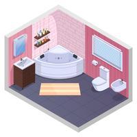 Interno isometrico del bagno angolare