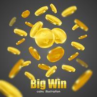 Manifesto del fondo della pubblicità delle monete d'oro di Big Win vettore