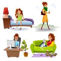 Icone piane di routine quotidiana della donna lavoratrice