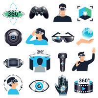 Set di icone di simulazione di visualizzazione di realtà virtuale vettore