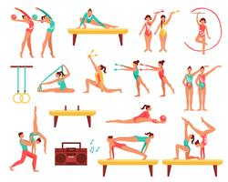 Set di icone decorative di ginnastica e Actobatics vettore