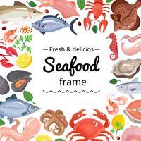 Sfondo cornice di prodotti marini