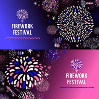 Festive Firework 2 Banners Set vettore