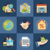 Set di icone di agenti immobiliari e immobiliari vettore