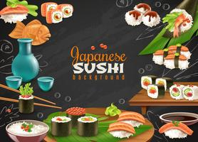 Sfondo di sushi giapponese vettore