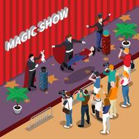 Illustrazione isometrica di spettacolo magico vettore