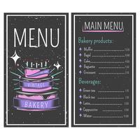 Stile vintage menu panetteria