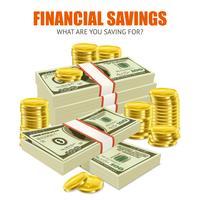 Composizione realistica di risparmi di monete dei dollari vettore