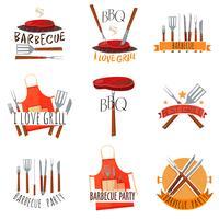 Set di etichette festa barbecue vettore