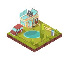 Illustrazione isometrica della casa mobile