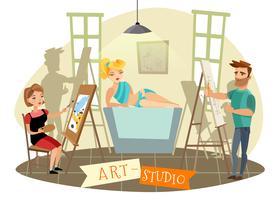 Illustrazione del fumetto di processo creativo di Art Studio vettore