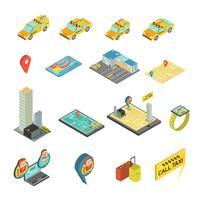 Set isometrico di taxi e gadget vettore