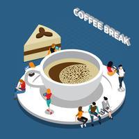 Composizione isometrica pausa caffè vettore