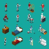 Set isometrico del personale dell'hotel