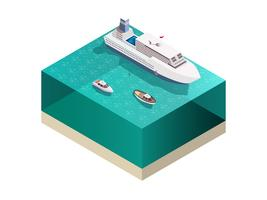 Composizione isometrica delle navi turistiche vettore